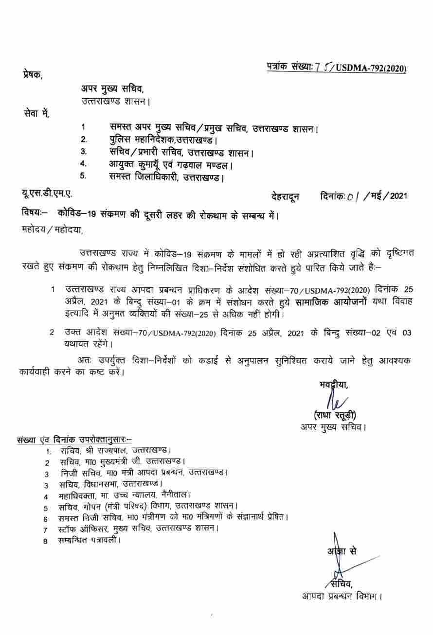 उत्तराखंड: सामाजिक आयोजनों तथा विवाह समारोह व अन्य कार्यक्रमों में अनुमोदित व्यक्तियों की संख्या अब 25 तक सीमित, आदेश जारी 2